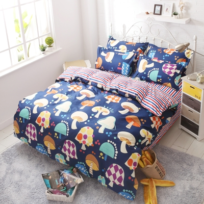 2016 fashion chic cartoon bedding set of queen full twin size duvet/doona cover bed sheet pillow cases 3/4pcs kit/mushroom
