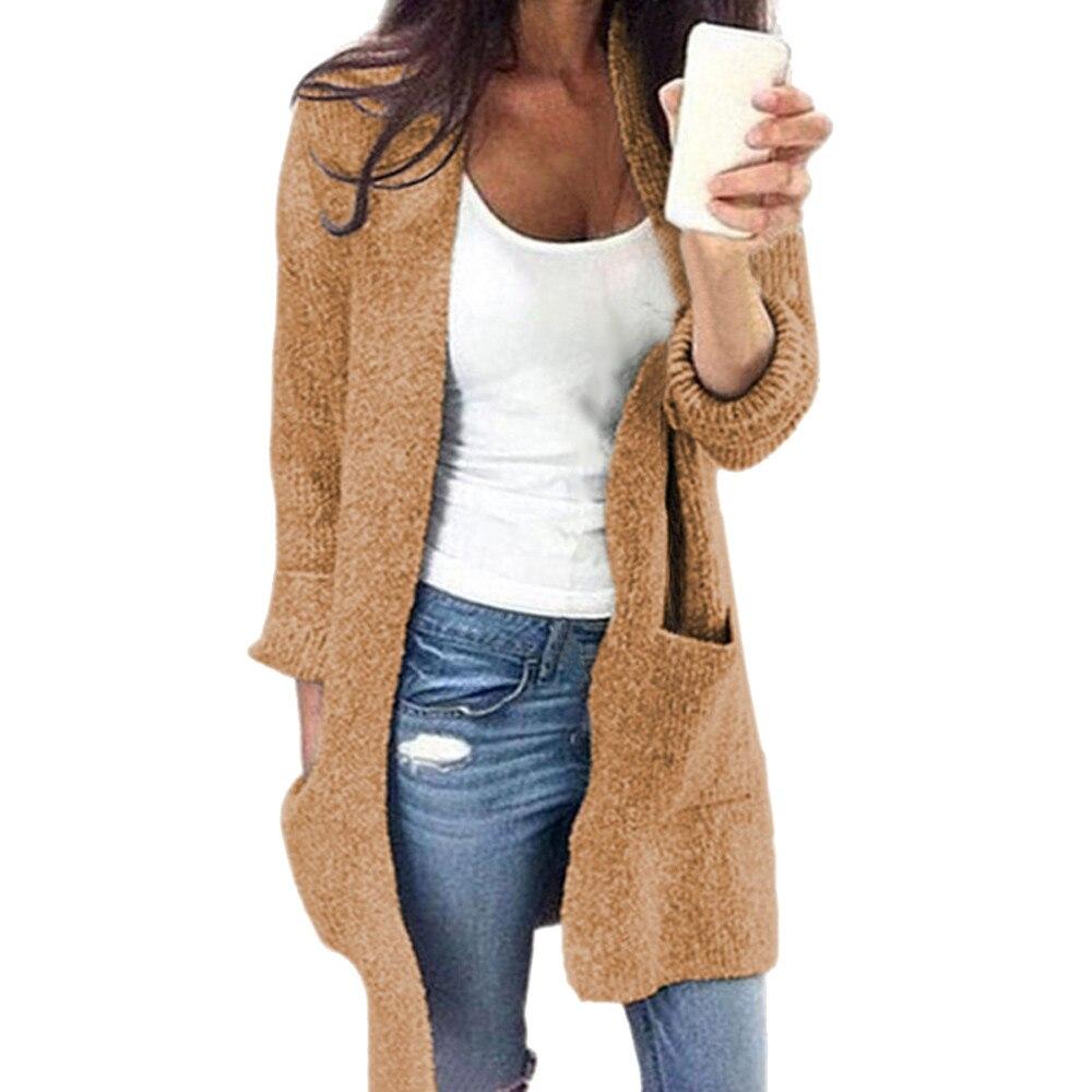 5XL Plus Size Knitted Sweater Women Warm Winter Long Sweater Oversize Cardigan Pocket Solid Lady Open Front Sweater Coat