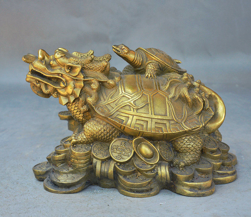 6 Chinese fengshui Brass Longevity Dragon turtle Tortoise Yuanbao coin Statue6 Chinese fengshui Brass Longevity Dragon turtle Tortoise Yuanbao coin Statue