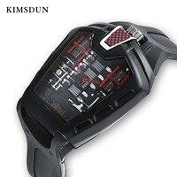 KIMSDUN Men's Fashion Trend Personality Classic Quartz Watch Luxury Racing Free Silicone Strap Clock Casual Sports Relogio
