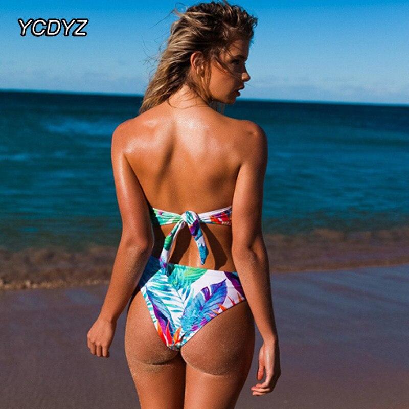 b966a8a02d YCDYZ Strapless One Piece Swimsuit Tie Back Bodysuit Swimwear 2018 Push Up  Bird Bathing Suit Floral Monokini Halter Beachwear-in Body Suits from  Sports ...