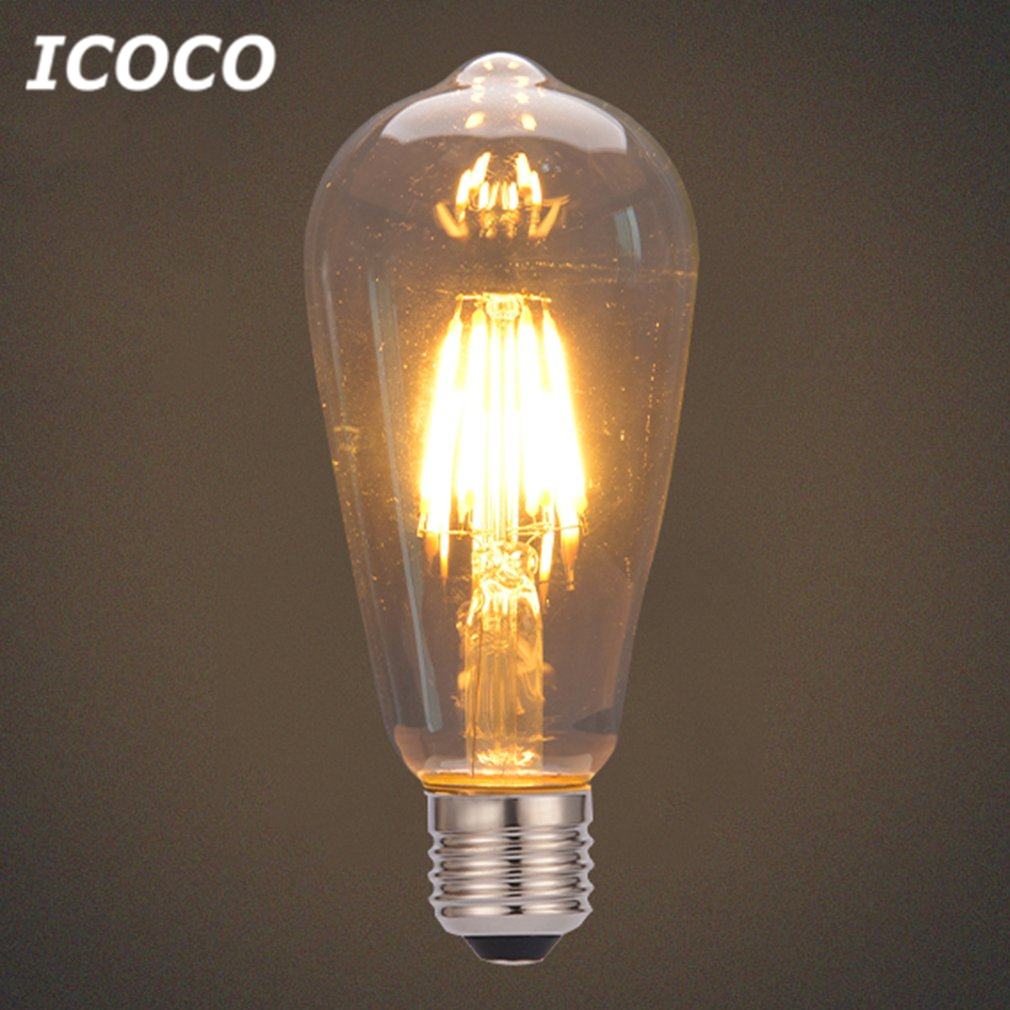ICOCO Bulb Vintage Filament Industrial Style Lamp LED Light Bulb E27 Warm Yellow Light For Indoor Outdoor Home Decor ST64