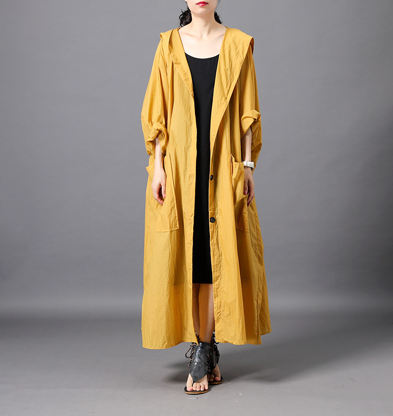 Original Design Pure Color Hooded Raincoat Top Quality Soft Thin Long Loose Casual   Trench   Coat for Women Oversize Outwear