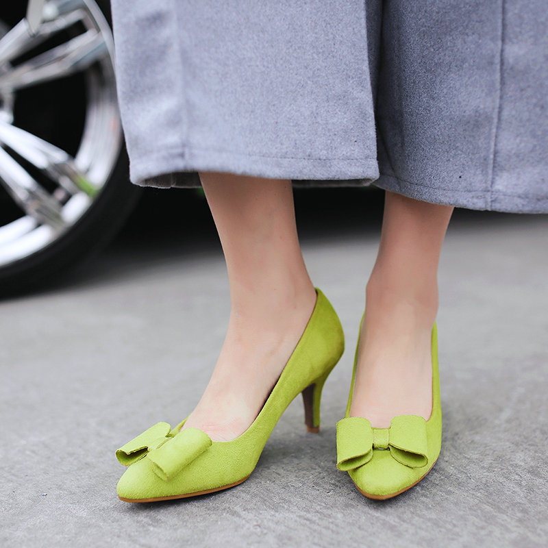 Sweet Spring Female Faux Suede Pointed Toe Pumps Party Thin High Heels Ladies Bow Shoes 2016