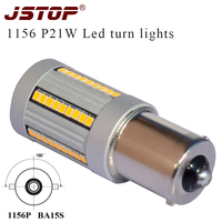JSTOP 2pcs No Resistor Required Yellow LED BA15S 1156 P21W Canubs Lamp LED Car Bulbs For