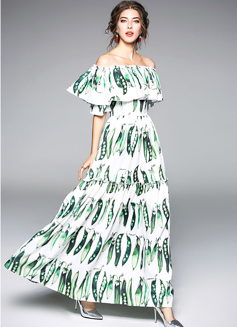 481001446f Plus Size New Pea Pod Printing Shoulder Off Women New Chiffon Long Dress  Show Skinny Female Maxi Dresses-in Dresses from Women s Clothing on  Aliexpress.com ...