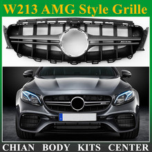 W213 AMG style ABS Vertical Grill grille for Mercedes Benz W213 AMG front bumper Racing Grills 14-17