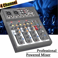 4 Channel Audio Mixer USB DJ Sound Mixing Console Amplifier For Karaoke KTV Home Sound System Digital Mini Microphone