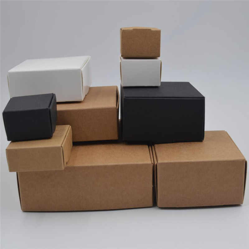 10pcs Blank small white soap cardboard paper boxes,black kraft paper craft jewelry box,square brown candy gift packaging boxes