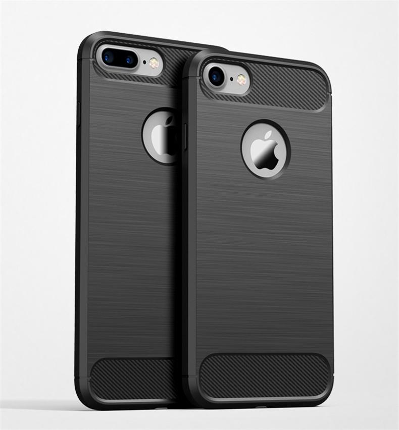 Luksusowe wstrząsoodporny telefon case for iphone 7 7 plus 6 6 s plus 5 5S se case new carbon fiber miękka tpu rysunek phone case back cover 7