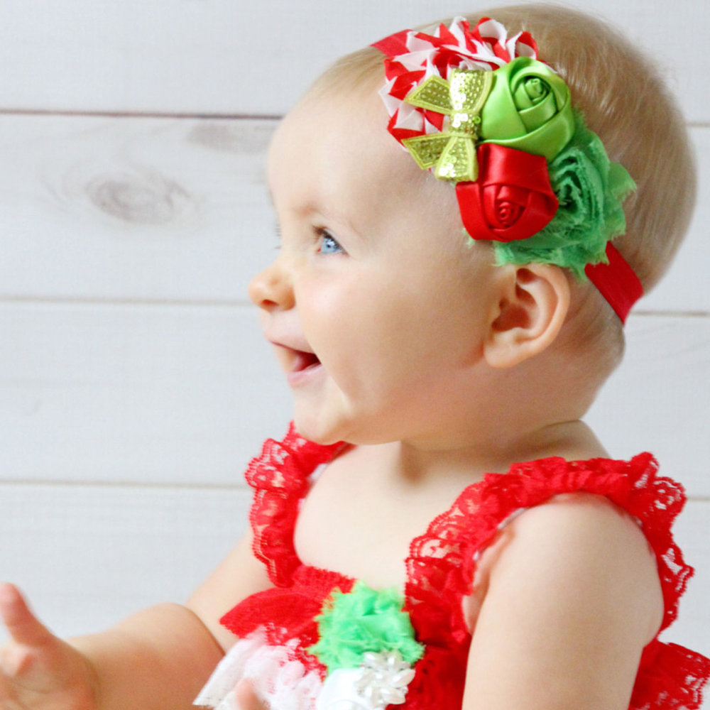 A Cute Christmas Baby Headband 5 Different Styles Girl Child Hair Ribbon Roses Butterfly Knot Hairband Accessories