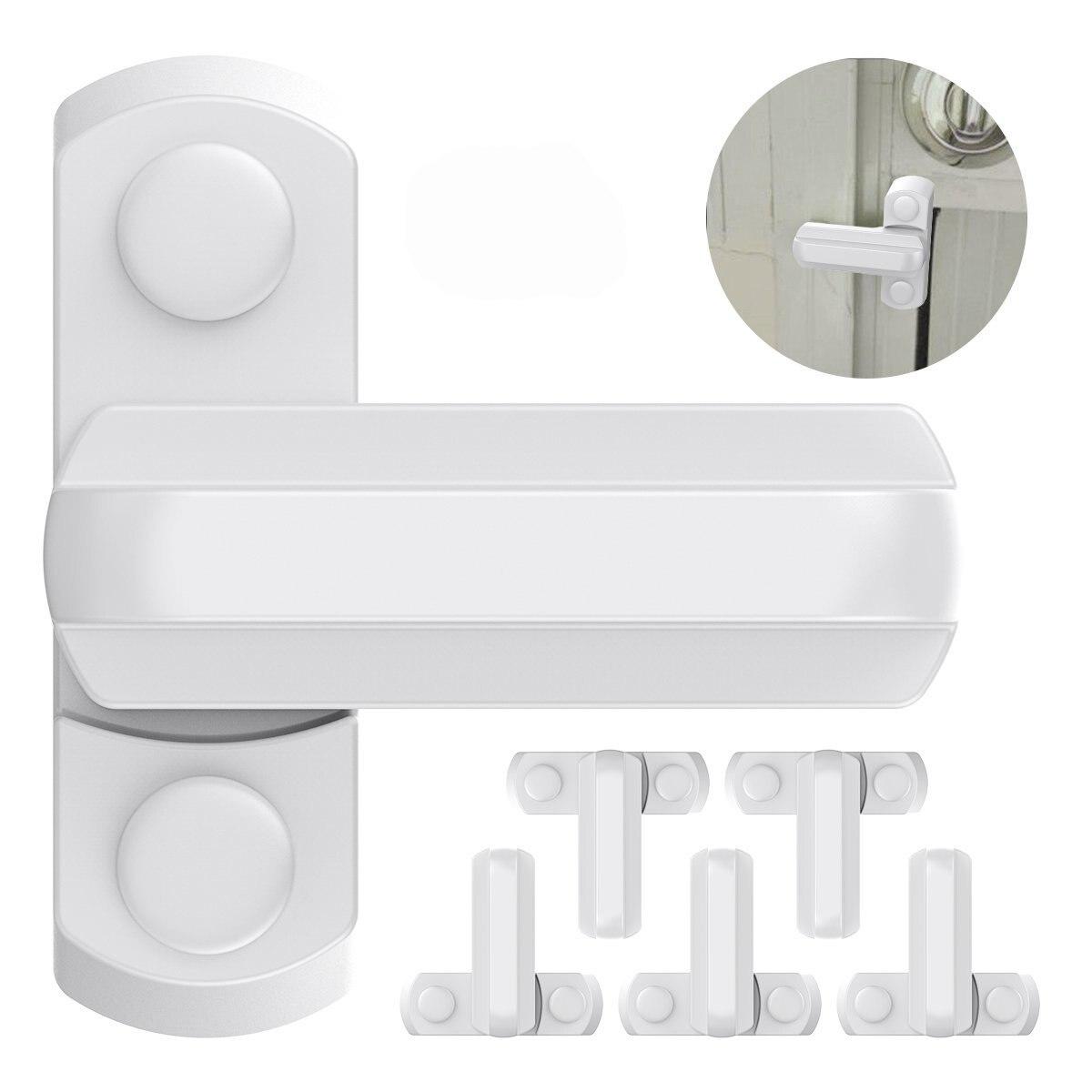6 pcs Branco Liga de Zinco Segurança Janela Janela de Bloqueio em Forma de T/maçaneta Da Porta jammer Faixa de Bloqueio Trava Lidar Com Criança proteção