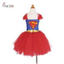 MUABABY Girls Superman Tutu Dress Children Girl Princess Cosplay Costume Spiderman Ball Gown Girl Halloween Birthday Gift