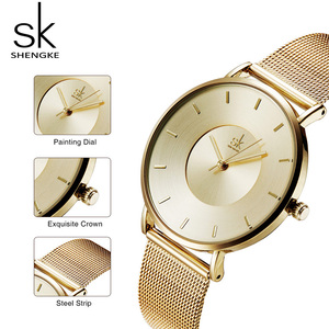 Image 4 - Shengke Luxury Gold Watches Earrings Necklace Women Set 2019 Top Brand SK Ladies Wrist Watch With Crystal Jewelry Set