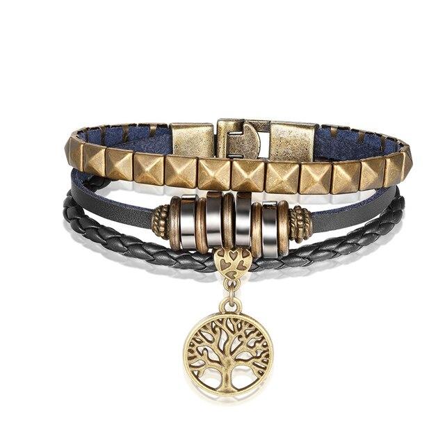 Купить мужской кожаный браслет janeyacy многослойный из сплава с деревом