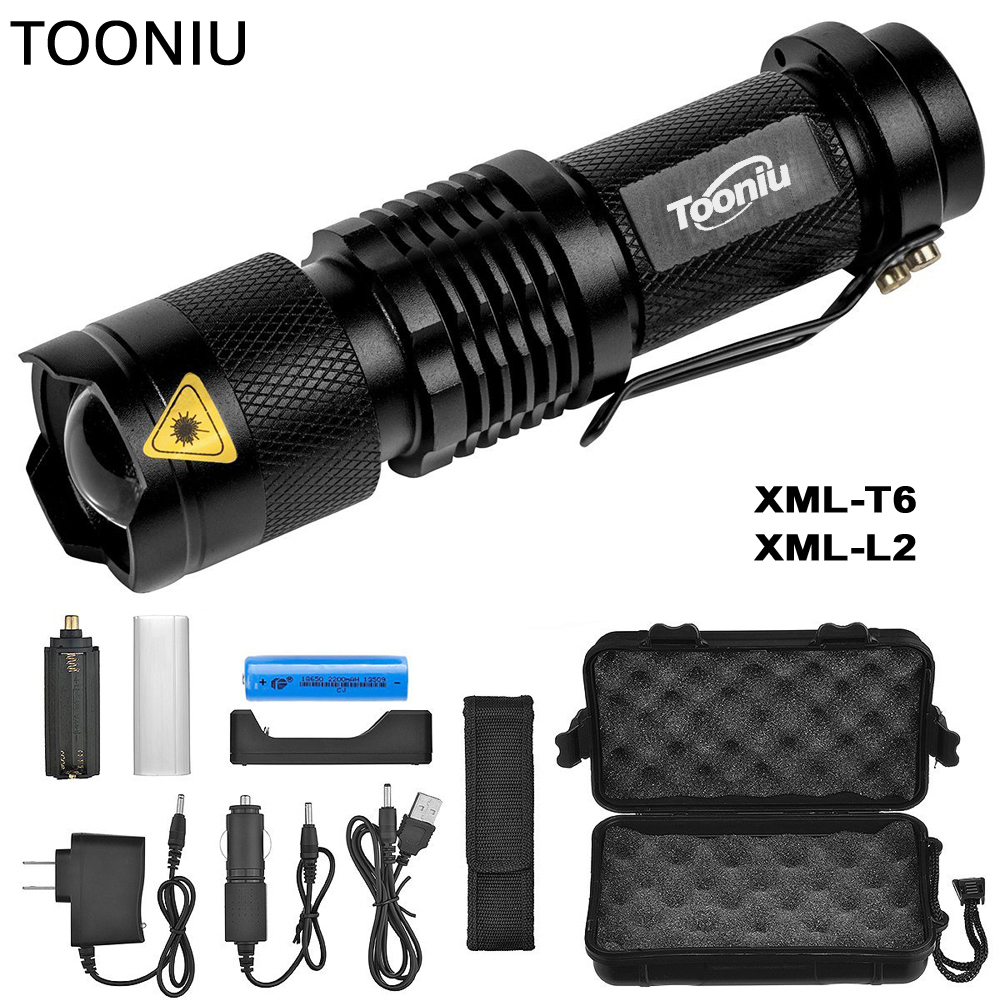 Tooniu Mini Zoom cree XML L2 T6 Torcia Led Torcia 5 modalità di 3800 Lumen impermeabile 18650 batteria Ricaricabile