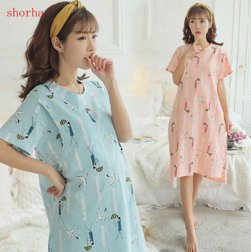 L-3XL Large Size Maternity Sleepwear 100% cotton For Pregnant Women Pajamas Nursing Breast Feeding Nightgown Dress Clothes