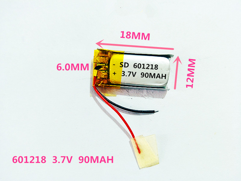 601218 3.7V 90MAH Length 18 Width 12 Thick 6/ Bluetooth Headset Toys MP4 Lithium Polymer Battery