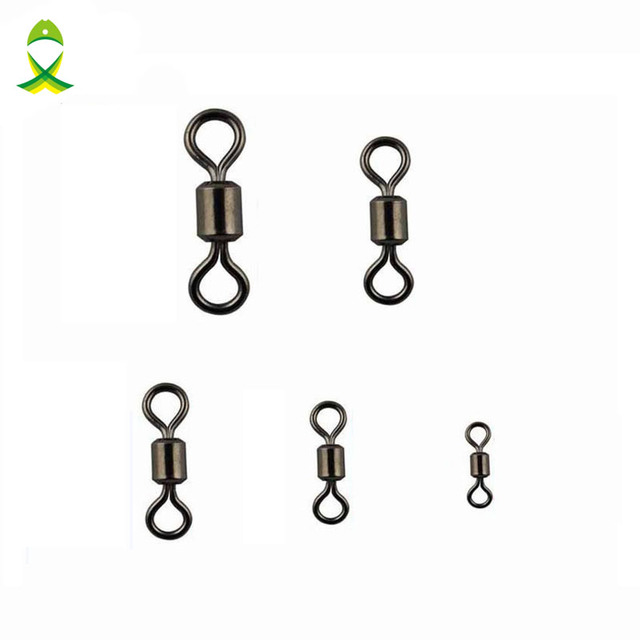 JSM 20pcs/lot fishing swivels Ball Bearing swivel with safety snap solid rings rolling swivel for carp fishing hook accessories