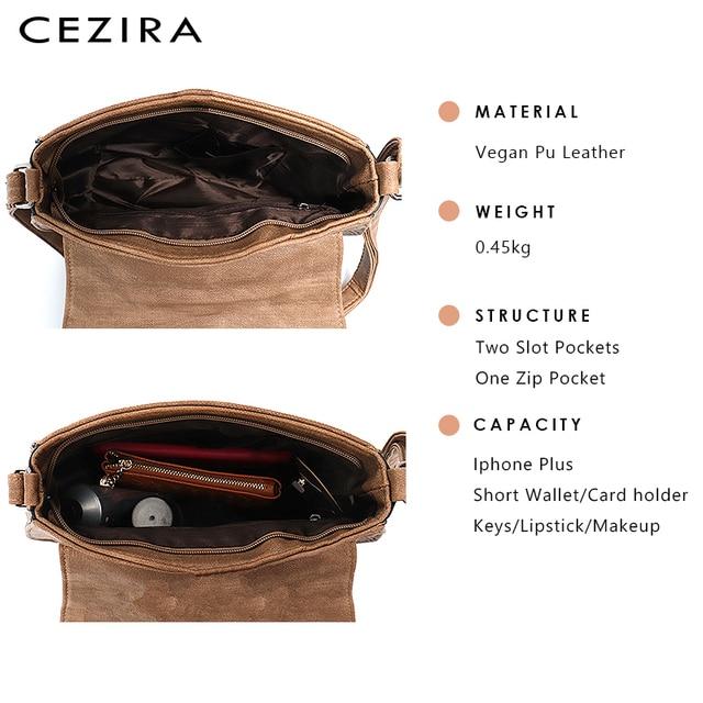 CEZIRA Vegan Leather Crossbody Bag For Women Casual Vintage Messenger Bag Girls Flap Saddle Bags Pu Leather Ladies Shoulder Bags 5