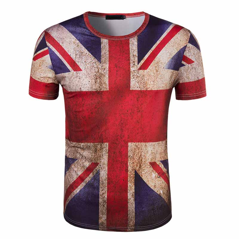 New mens fashion m word British flag to do the old print short sleeve