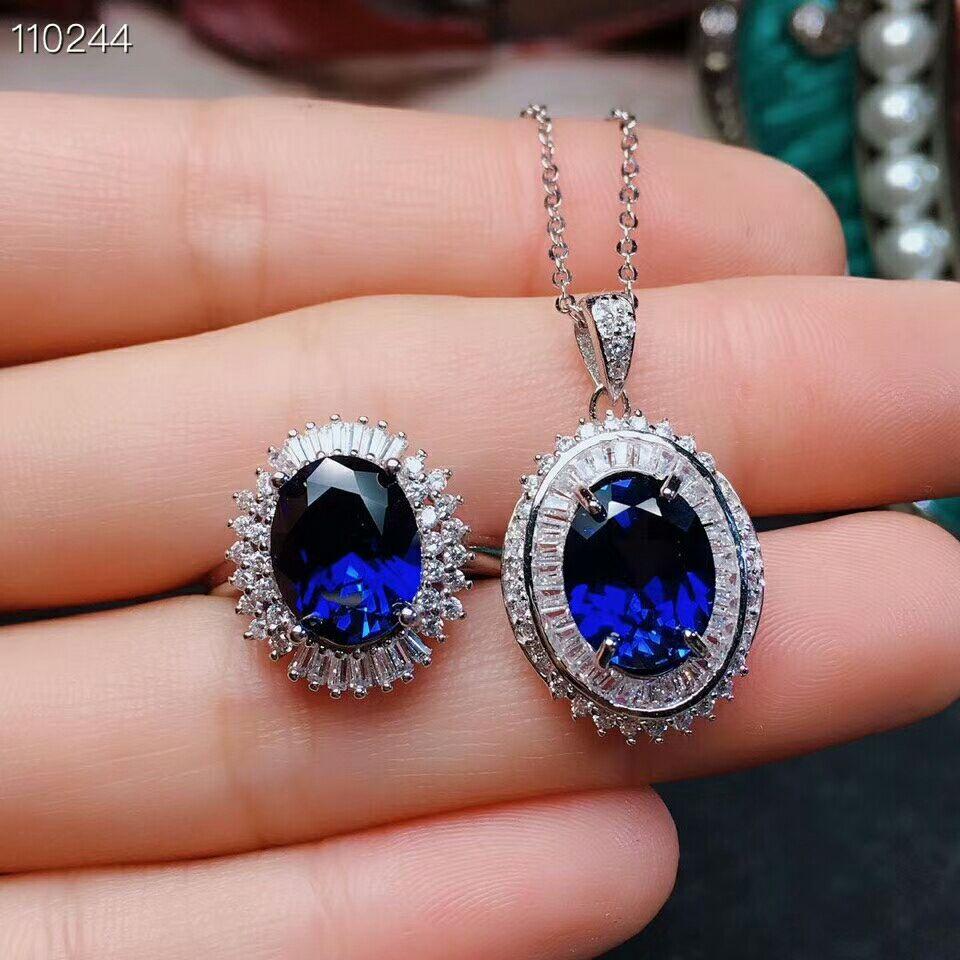 MeiBaPJ Sapphire Gemstone Jewelry Set 925 Sterling Silver Pendant Ring 2 Siut Fine Luxurious Wedding Jewelry