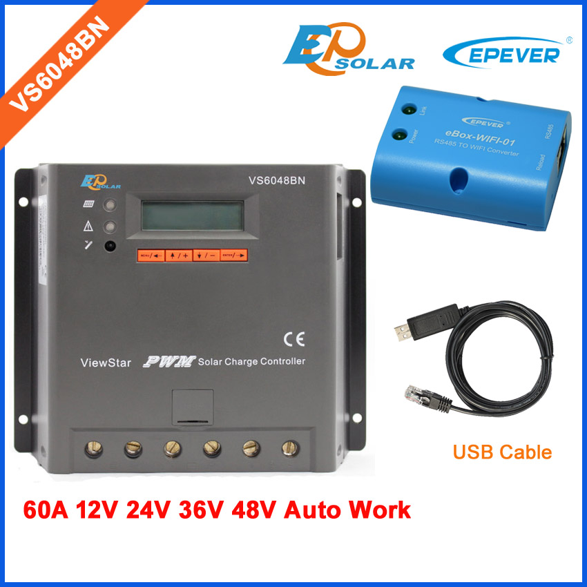 charger controller solar 60A EPEVER product New PWM series VS6048BN Wifi eBOX and USB cable for communication function lcd charger controller solar 60A EPEVER product New PWM series VS6048BN Wifi eBOX and USB cable for communication function lcd