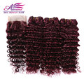 99J Brazilian Hair With Closure 4x4 Red Wine Brazilian Deep Wave Lace Closure With Bundles Burgundy Human Hair Weft With Closure