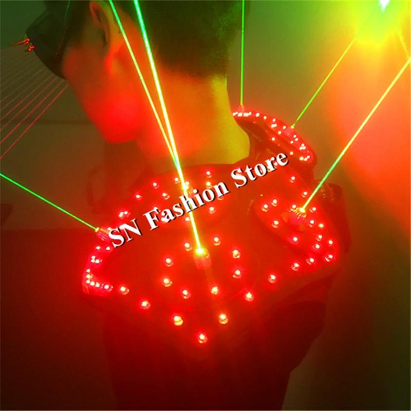 T16 Colorful light ballroom laser vest dj laser costumes dance wears laser glasses red laser suit led clothes shoulder led vest 15