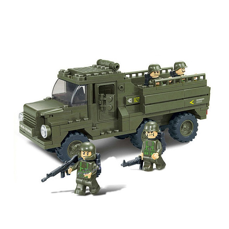 Army Military transport truck gun MOC UV-Printing Building Brick military weapon accessories DIY mini figures original toys gift image