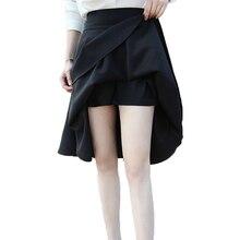 30e3f246e6b839 6XL Plus Size Rok Hoge Taille Rokken Womens Black Knielengte Bodems  Plooirok Saia Midi Zwart Rood 2018