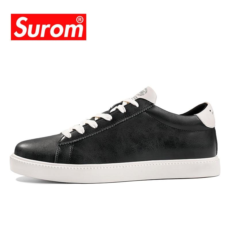 SUROM Luxo Marca das Sapatilhas Dos Homens Sapatos de Skate De Borracha Anti Deslizamento de Calçados Esportivos de Couro Dos Homens Clássicos Sapatos Pretos Krasovki