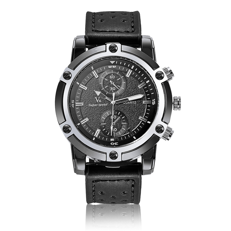 V6 Men Watch Luxury Famous Brand Fashion Male Quartz Watches Business Casual Leather Black Silicone Wrist Watch Men Reloj Hombre  silver watches men women luxury brand famous quartz wrist watches for men leather waterproof business fashion casual dress watch