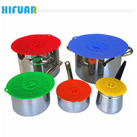 HIFUAR Practical 5pcs Silicone Food Pot Lids Food Saver Pots Covers Silicone Fresh Cover Suction Lids For Bowls Cups Containers