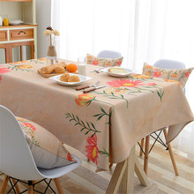 New pastoral style waterproof cotton linen tablecloth flower fabric printing table cloth shop store