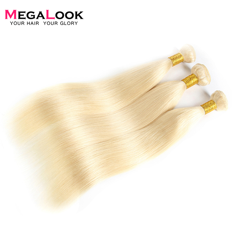 Megalook 613 Hair Bundles Brazilian Honey Blonde Human Hair Weave 3pcs Straight Remy Hair 8 28inch