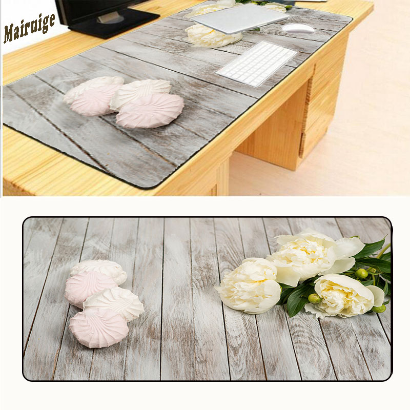 Mairuige 400*900 Wooden Floor Computer Flowers Mouse Pad Mousepads Radiation Non-Skid Rubber Pad Overlock Mouse Pad