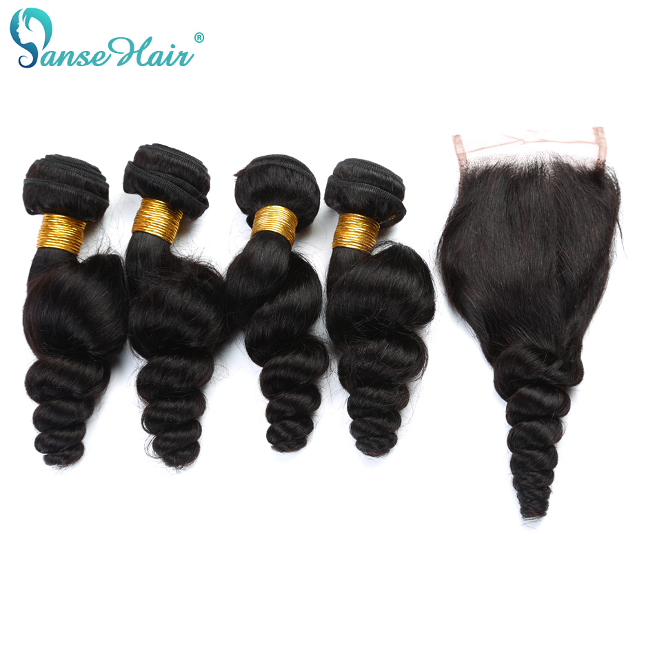 Panse Hair Peruvian Loose Wave 3 Bundles Human Hair With Lace Closure 4*4 Customized 8-30 Inches Hair Weaving Hair Extension