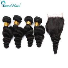 Panse Saç Perulu Gevşek Dalga 3 Demetleri Ile Insan Saç Dantel Kapatma 4*4 Özelleştirilmiş 8-30 Inç saç örme saç Uzatma