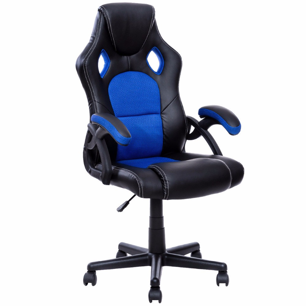 Goplus PU Leather Gaming Chair Executive Bucket Seat Racing Style Office Chair Modern Computer Desk Task Swivel Chairs HW53001 240312 stereo thicker cushion household office chair high quality pu leather computer chair steel handrails