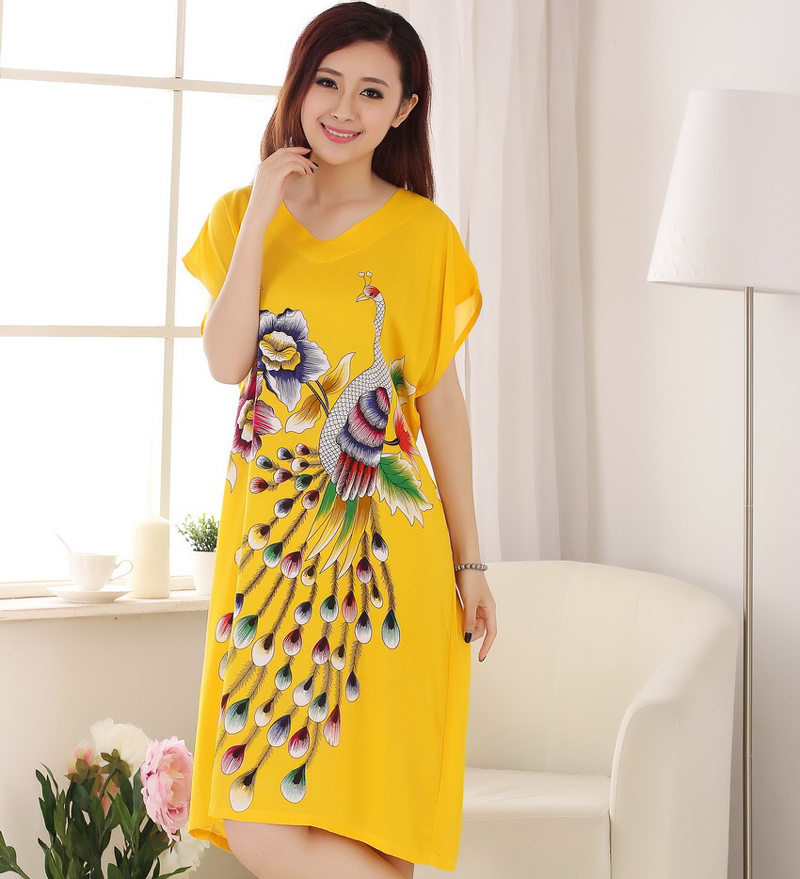 Hot Sale Peacock Female Cotton Nightgown Sleepwear Chinese Traditional Print Robe Bath Gown Causal Kaftan Dress One Size A-137