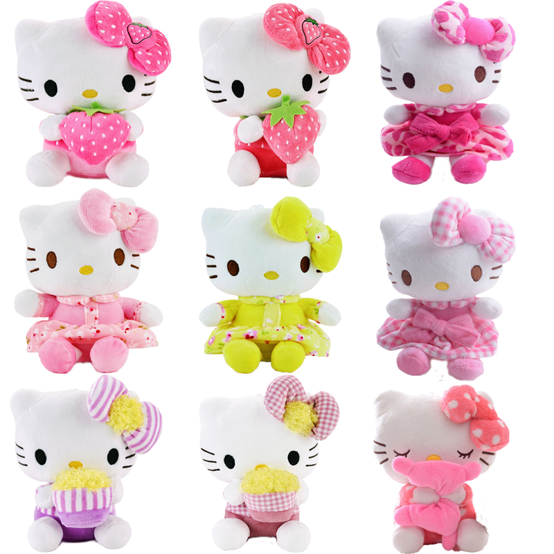 Plush Doll Hello Kitty Plush Pink Grid Skirts Hello Kitty Cat with Bow Sucker Hang Kids for Girls Gifts Doll Toy 7'' Brand New стоимость