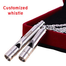 2PCS couple outdoor survival whistle trend stainless steel pendant men and women necklace free LASER NAME  HOT SALES