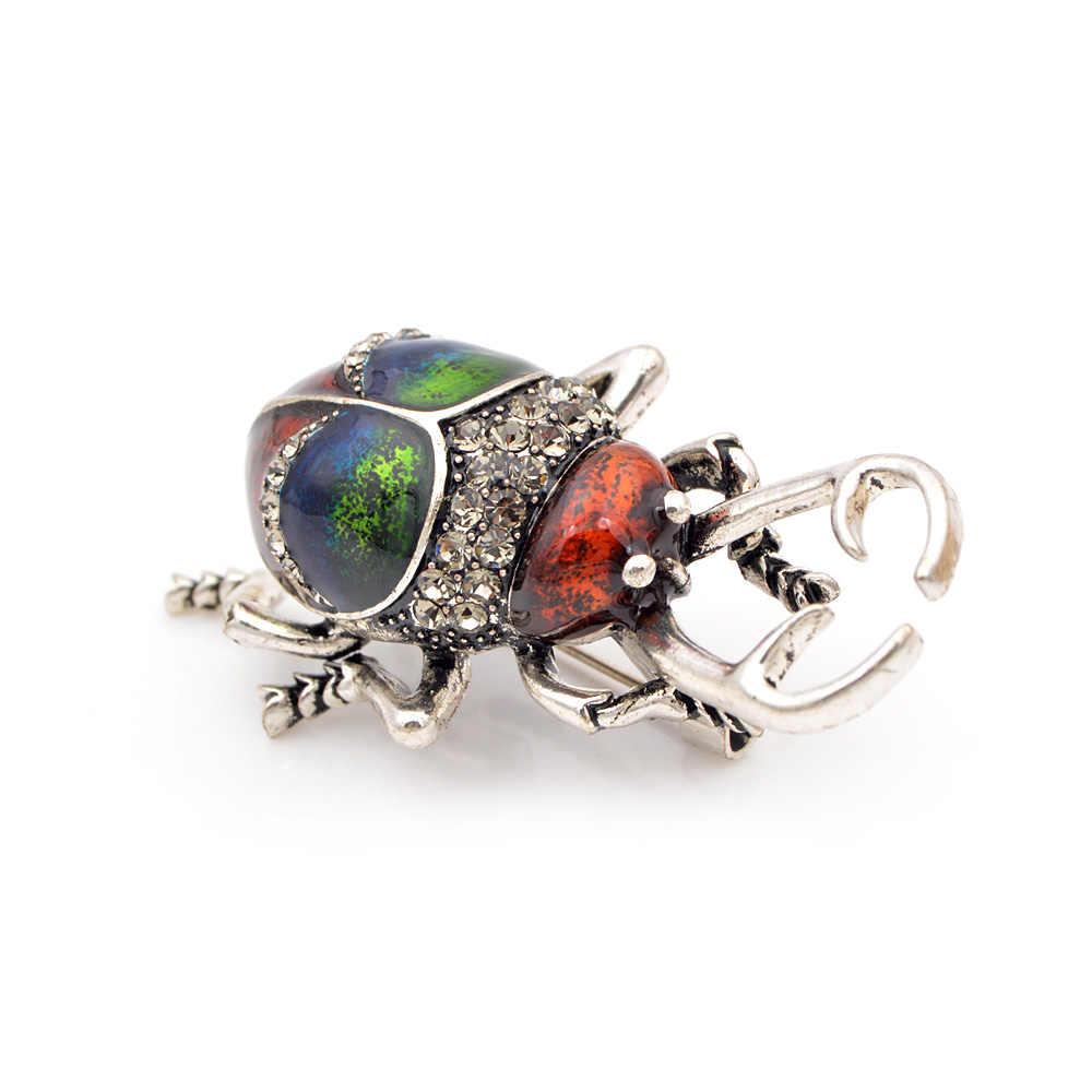 Cindy Xiang Della Lega Dell'annata Dello Smalto Beetle Spille per Le Donne E L'uomo Creativo Bugs Spilli Modo Insetto Distintivi E Simboli 3 Colori Scelgono regalo