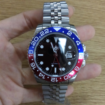 Parnis 40mm Blue Red Bezel Mechanical Automatic Men's Watches GMT Sapphire Crystal Man Diver Watch Men Clock Top Luxury Brand