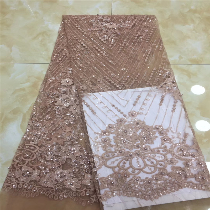 Las más nuevas telas africanas de encaje de tul con cuentas bordado red encaje africano francés de alta calidad con rosa-in encaje from Hogar y Mascotas    1