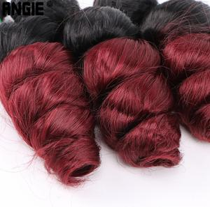 Image 5 - ANGIE Loose Wave Curly Hair Bundles Synthetic Hair Weave 3 Pieces/Lot 16 18 20 Inches Two Tone Ombre Black /27#  For Women