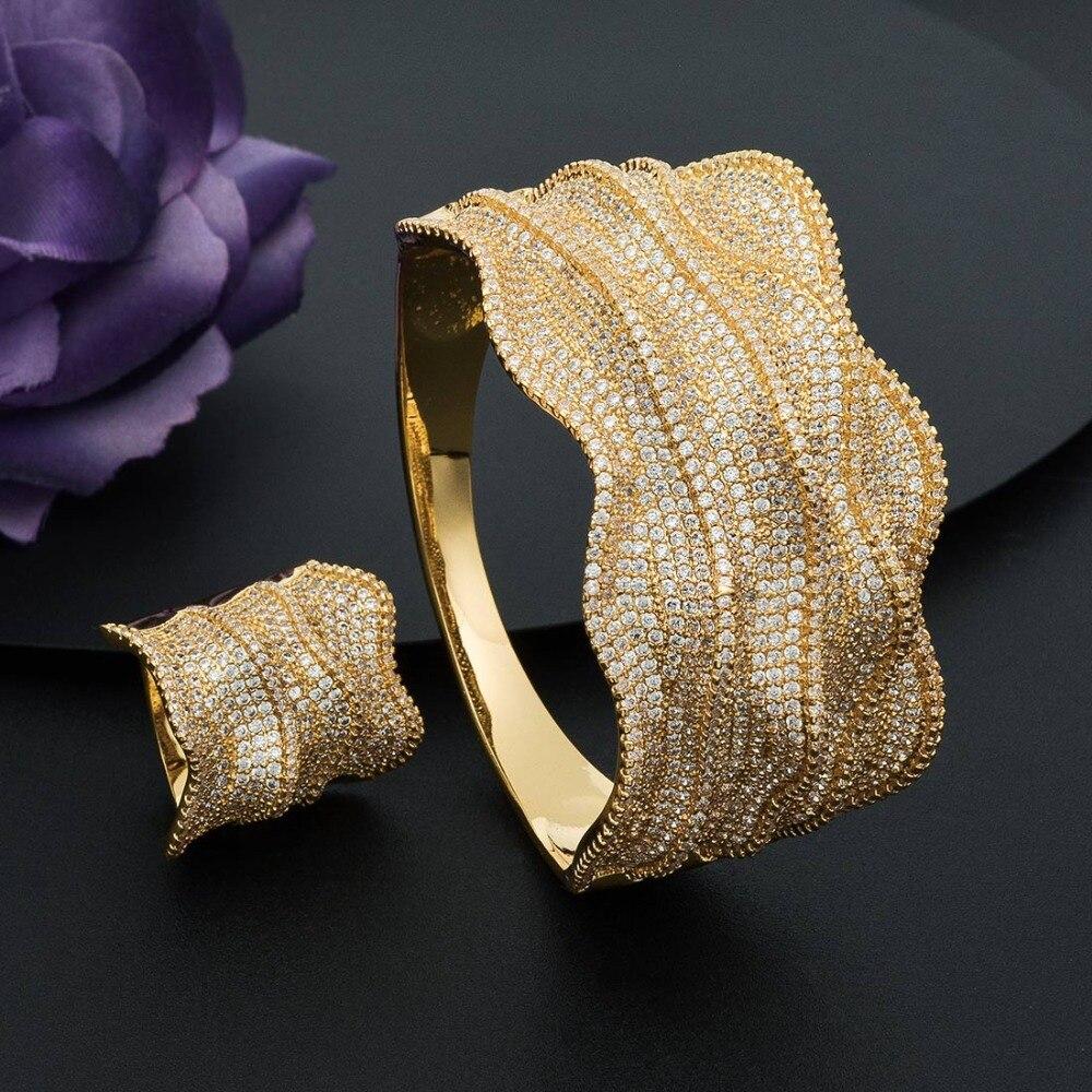 ModemAngel Mode Luxe Golven Super Glanzende AAA Zirconia Voor Vrouwen Bruiloft Baguette Armband En Ring Fashion Jewel-in Sieradensets van Sieraden & accessoires op  Groep 3