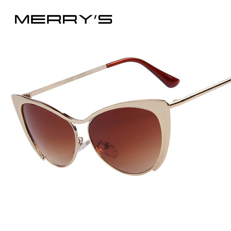 MERRY'S Brand Design Women Half Frame Cat Eye Sunglasses Fashion Vintage Alloy Cat Eye Sunglasses Blue Mirror 7 Color