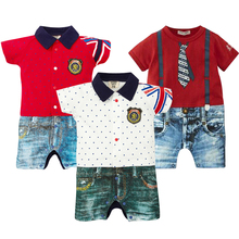 Baby Rompers Summer Baby Boy Clothes 2017 Baby Boy Clothing Sets Short Sleeve Newborn Baby Clothes Roupas Bebe Infant Jumpsuits цена 2017